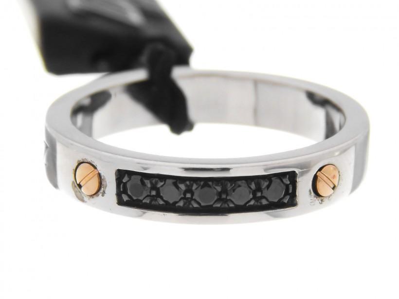 Zancan Sterling Silver Black Spinel Men's Ring