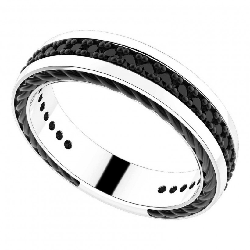 Zancan Silver Ring with Black Spinels EXA107