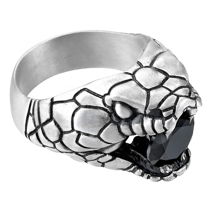 Zancan Ring Silver Black Spinel Size 12