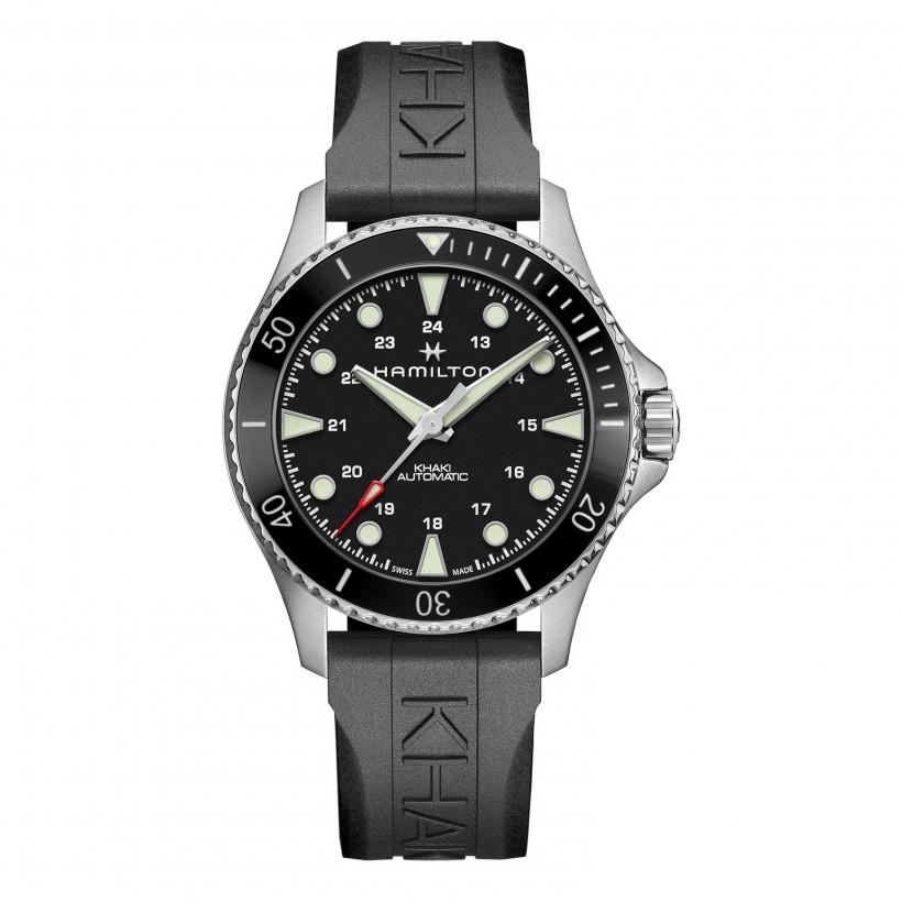 Hamilton Khaki Navy Scuba Black Auto Watch Rubber Strap