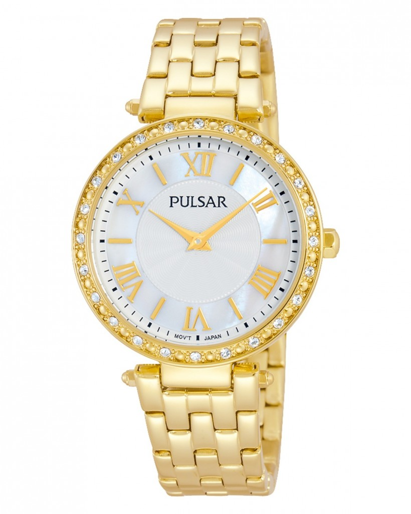 Pulsar Quartz Mother-of-Pearl Dial Crystals Gold Tone Women's Watch