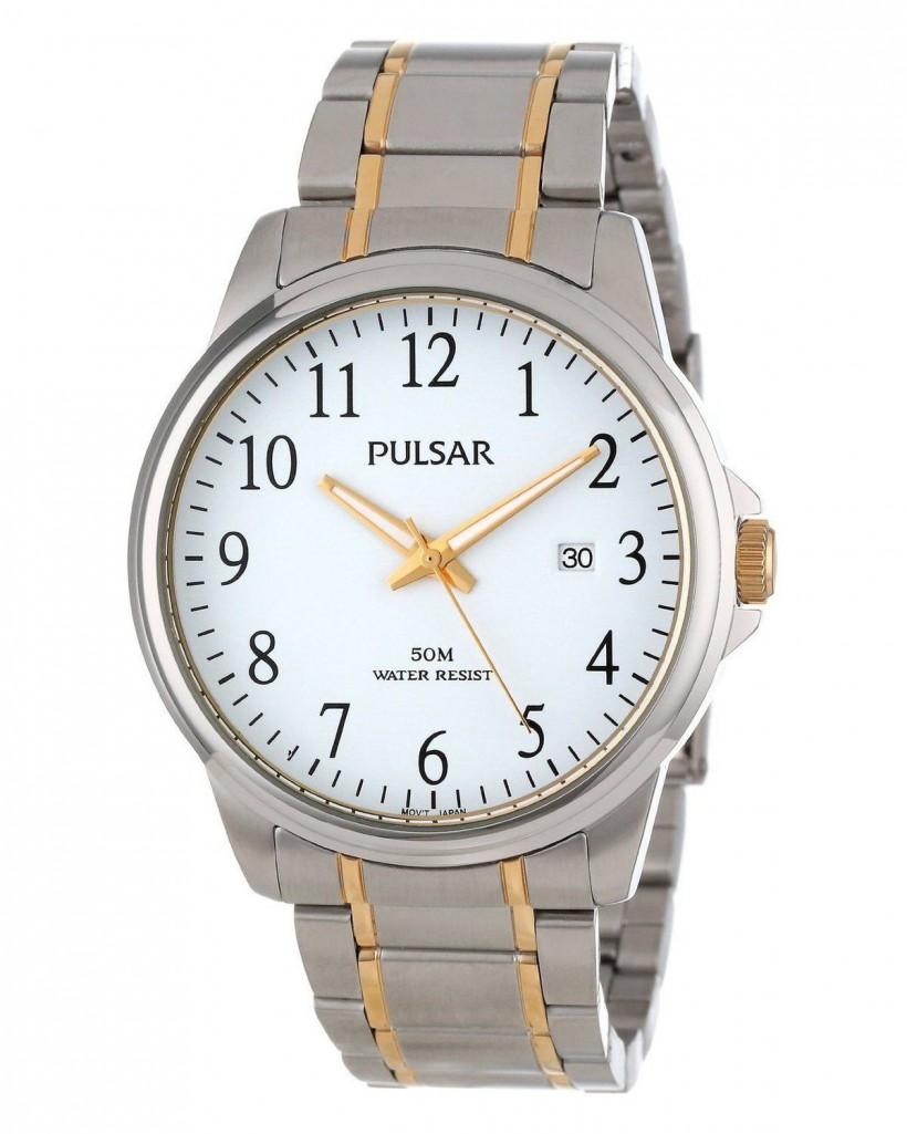 Pulsar Quartz White Dial Two-Tone Men's Watch