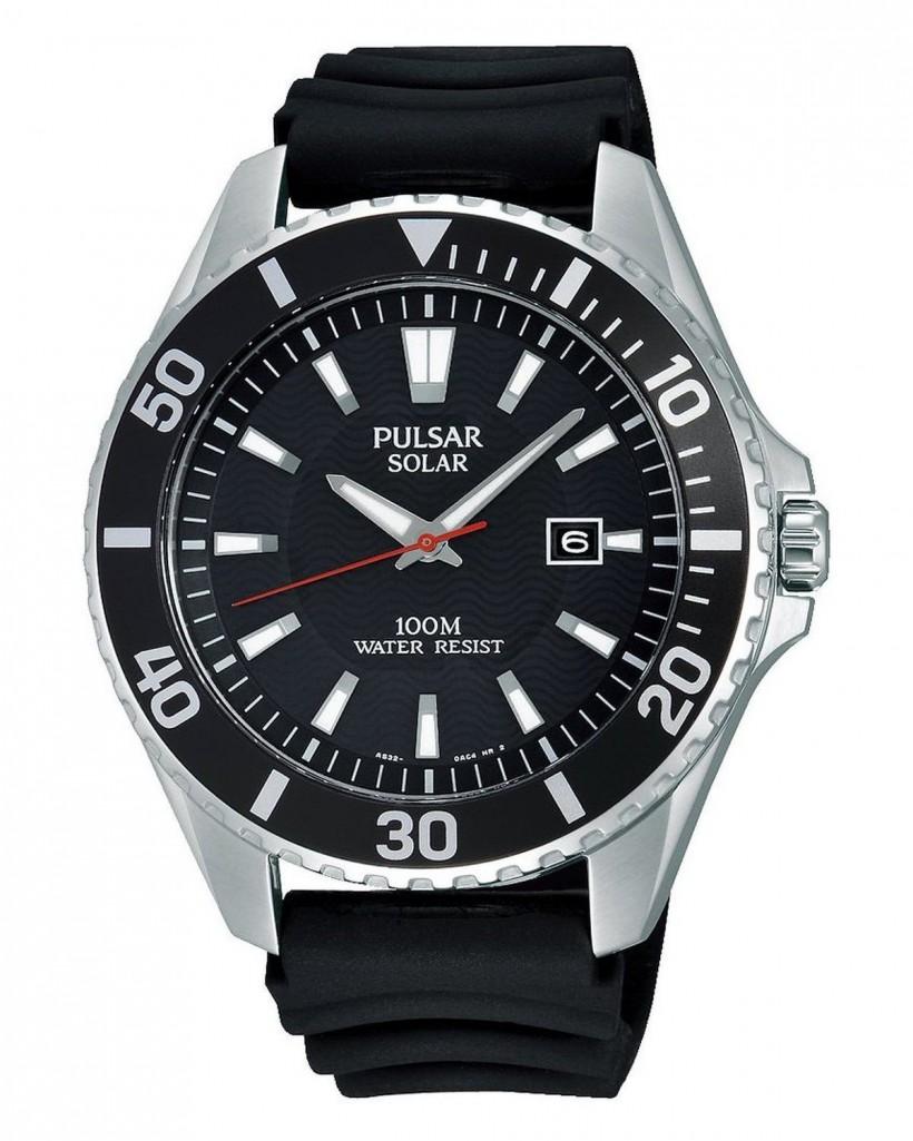 Pulsar Solar Black Dial Men's Watch