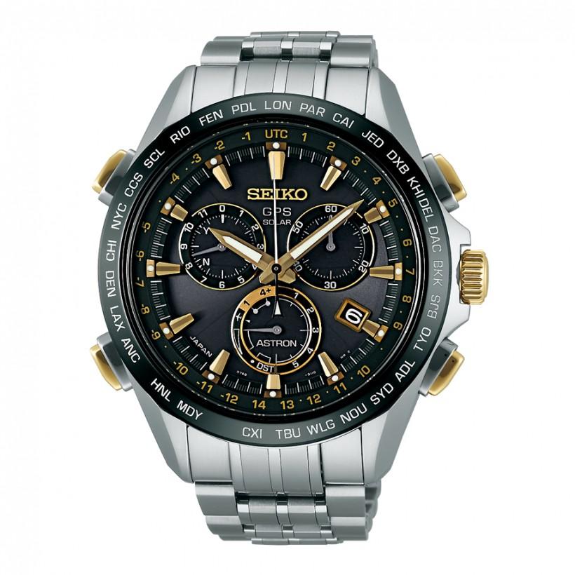 Seiko Astron 8x GPS Solar Titanium Black & Gold Men's Watch