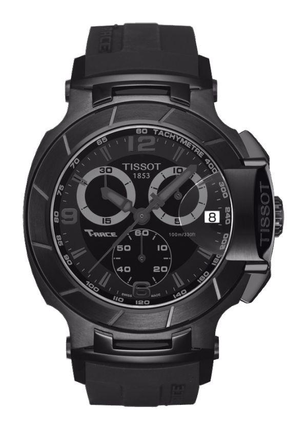 Tissot T-Race Men's Quartz Chronograph Black Dial Watch with Black Rubber Strap T0484173705700