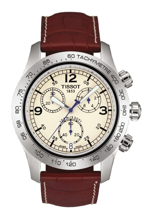 Tissot V8 Men's Quartz Ivory Dial Watch with Brown Leather Strap