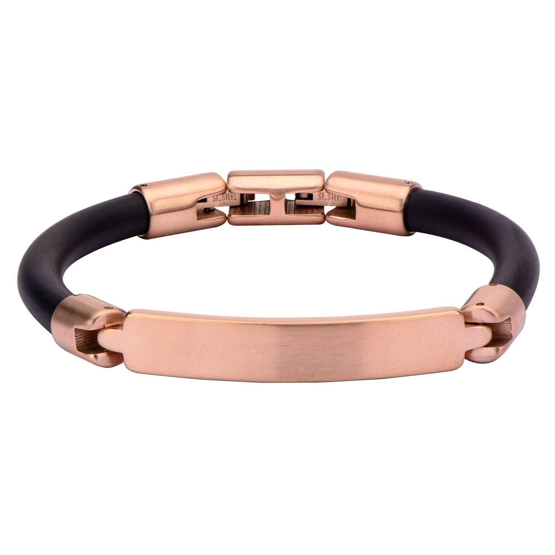 b1afc3b87 Inox Men's Matte IP Rose Gold Bar ID Rubber Bracelet BRRARR1RG