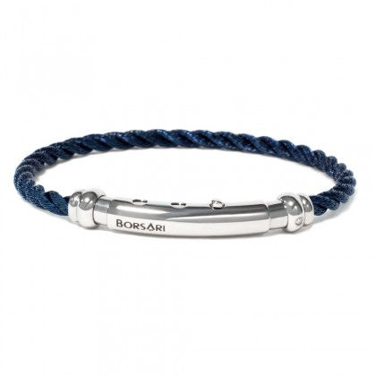 Borsari blue stainless steel rope bangle with a diamond