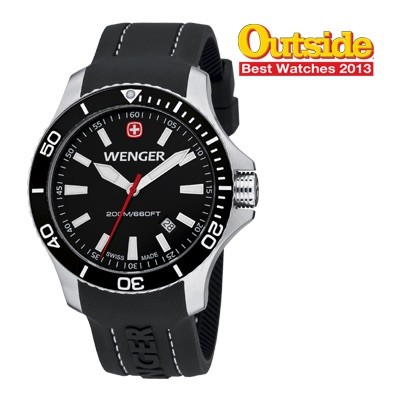 Wenger Men's Sea Force Black Dial Black Silicone Strap