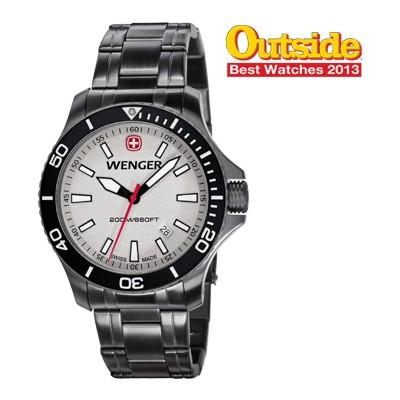 Wenger Men's Sea Force Grey Dial Gunmetal Stainless Steel Bracelet 0641.107
