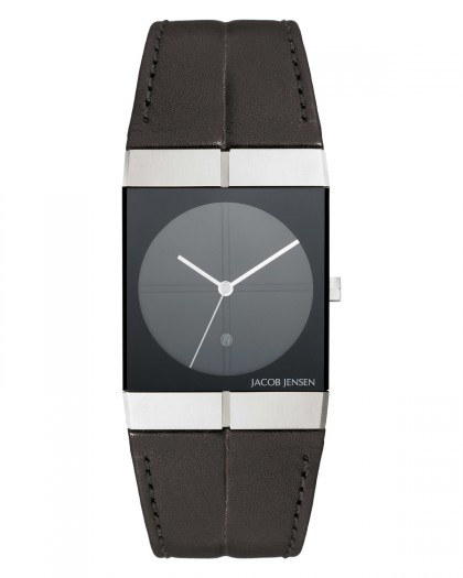 Jacob Jensen Icon Stainless Steel Black Dial Leather Band Men's Watch