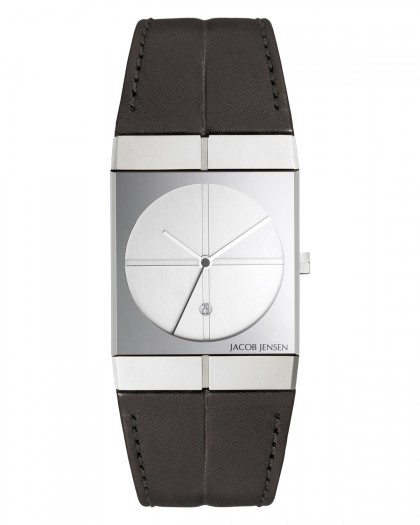 Jacob Jensen Icon Stainless Steel Silver Dial Leather Band Men's Watch