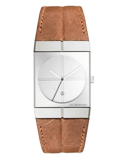 Jacob Jensen Icon Stainless Steel Brown Leather Band Men's Watch