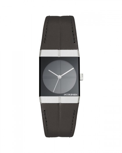 Jacob Jensen Icon Stainless Steel Black Dial Leather Band Women's Watch