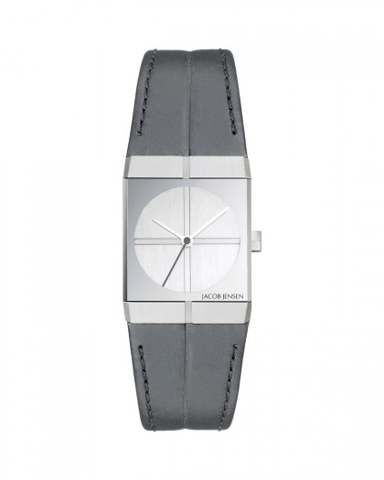 Jacob Jensen Icon Stainless Steel Silver Dial Leather Band Women's Watch