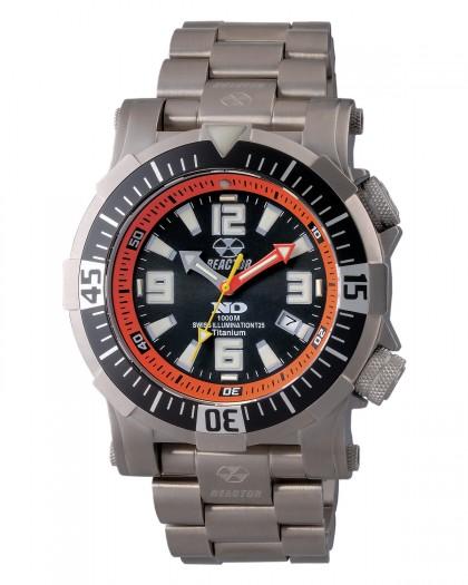 Reactor Poseidon Titanium Black Orange Diver Men's Watch