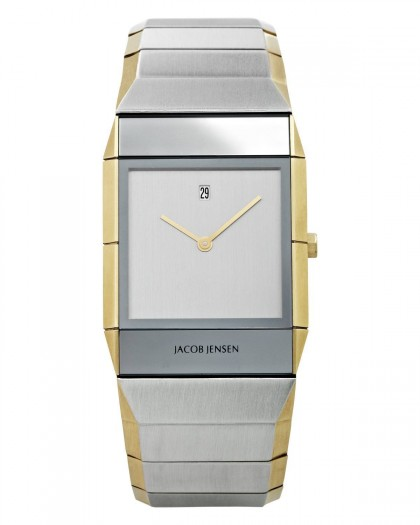 Jacob Jensen Sapphire Two Tone Stainless Steel Silver Dial Men's Watch