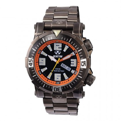 Reactor Poseidon Gunmetal Plated Bracelet Black/Orange Dial 55601