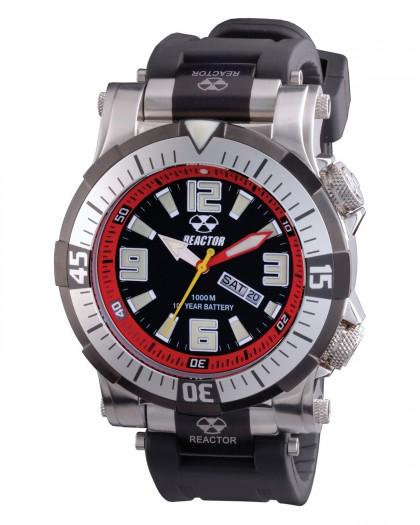 Reactor Poseidon Black Red Diver Men's Watch