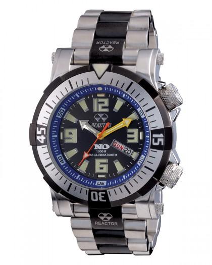 Reactor Poseidon Kinetic Silver Black Men's Watch