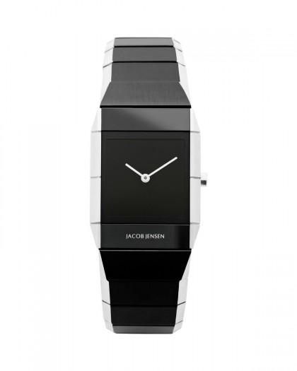 Jacob Jensen Sapphire Black & Silver Stainless Steel Women's Watch