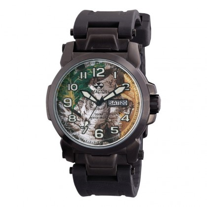 Reactor Atom Black Rubber Strap Day/Date Black Plated Realtree Dial 68901