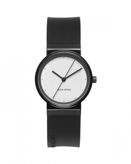 Jacob Jensen New Series Black Stainless Steel White Dial Women's Watch
