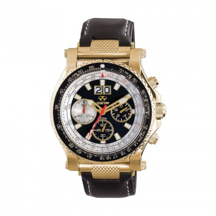 Reactor Valkyrie Chronograph Gold Black Leather Men's Watch