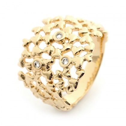 Hearts Gold  0.06 CTW Ring