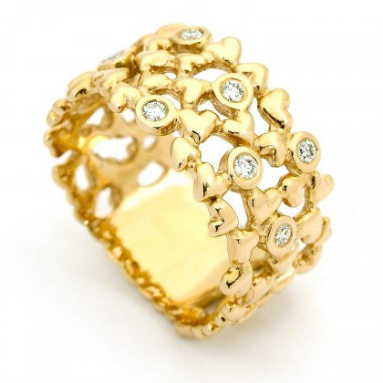Hearts Gold  0.14 CTW Ring