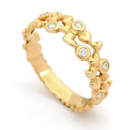 Hearts Gold  0.12 CTW Ring