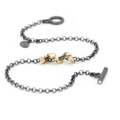 Hearts Silver With Gold 0.02 CTW Bracelet