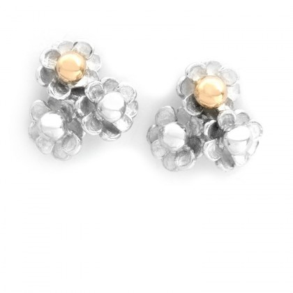 Happy Flower Silver With Gold Earrings