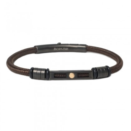 Borsari brown polyester, stainless steel clasp with rose gold screw