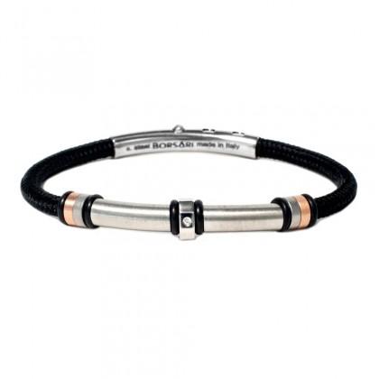 Borsari black polyester, stainless steel clasp with diamond