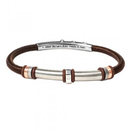 Borsari brown polyester, stainless steel clasp with diamond