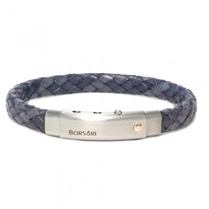 Borsari titanium leather with steel clasp w/rose gold screw