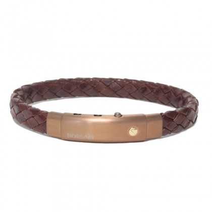 Borsari brown leather with pvd steel clasp w/rose gold screw