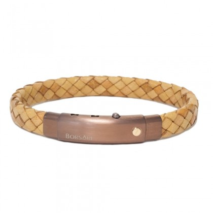 Borsari sandy leather with pvd steel clasp w/rose gold screw
