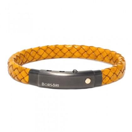 Borsari mustard leather with pvd steel clasp w/rose gold screw