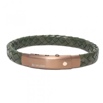 Borsari army green leather with pvd steel clasp w/rose gold screw