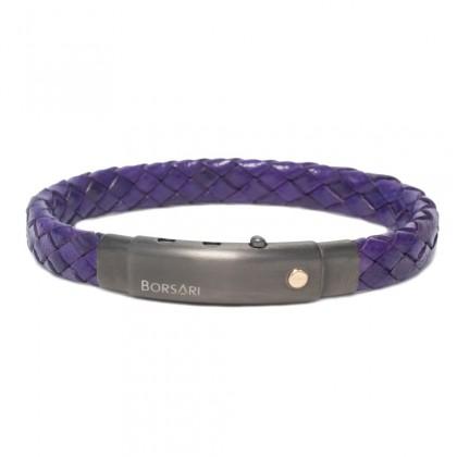 Borsari purple leather with pvd steel clasp w/rose gold screw