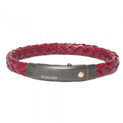 Borsari red leather with pvd steel clasp w/rose gold screw