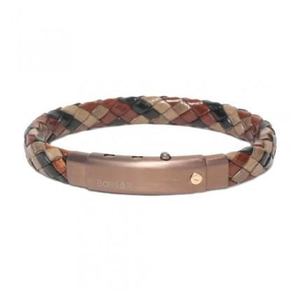Borsari jungle-mix leather with pvd steel clasp w/rose gold screw