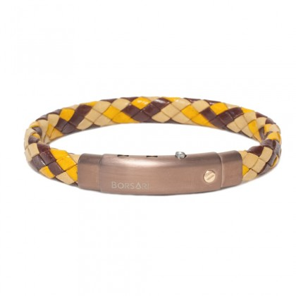 Borsari desert-mix leather with pvd steel clasp w/rose gold screw