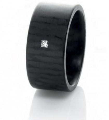 C6 Princess Wide 8mm 0.05CT Princess Cut Diamond Carbon Fiber Ring Size 10