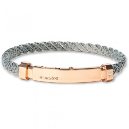 Borsari natural stainless steel rope bangle with a diamond