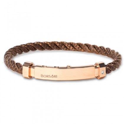 Borsari brown stainless steel rope bangle with a diamond