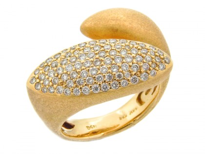 14k Yellow Gold Brush Finish Diamond Ring
