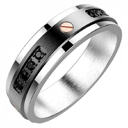 Zancan Stainless Steel Black Spinel Ring
